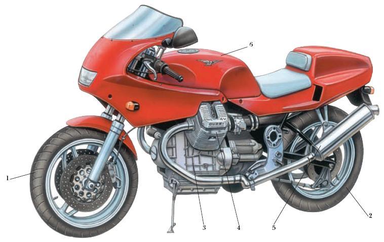 Схема расположения основных узлов спортивного мотоцикла.  1 - переднее колесо; 2 - заднее колесо; 3 - двигатель; 4...