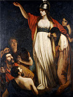 Painting of woman, with outstretched arm, in white dress with red cloak and helmet, with other human figures to her right and below her to the left.