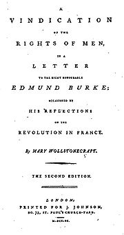 La page se lit ainsi : A Vindication of the Rights of Men, in a Letter to the Right Honourable Edmund Burke; Occasioned by His Reflections on the Revolution in France. By Mary Wollstonecraft. The Second Edition. London: Printed for J. Johnson, No. 72, St. Paul's Church-Yard. M.DCC.XC.