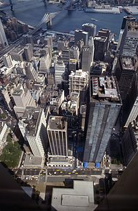 22 Cortlandt Street One Liberty Plaza from 2WTC 1984.jpg