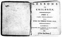 "La page dit ""Lessons for Children. Part I. For Children from Two to Three Years Old. London: Printed for J. Johnson, No. 72, St. Paul's Church-Yard, 1801. [Price Six Pence.]"""