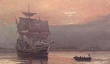 Le Mayflower dans le port de Plymouth peint par William Halsall (1882).