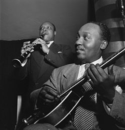 Al Casey and Eddie Barefield, Café Society, New York, between 1946 and 1948 (William P. Gottlieb 01161).jpg