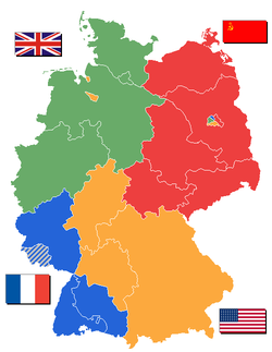 Carte des zones d'occupation de l'Allemagne