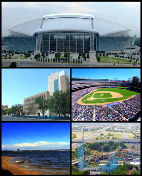 De haut en bas et de gauche à droite : Cowboys Stadium, University of Texas at Arlington, Rangers Ballpark in Arlington, Lake Arlington, Six Flags Over Texas.