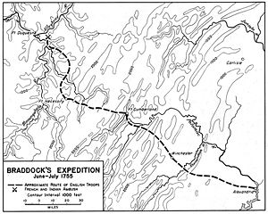 Route of the Braddock Expedition