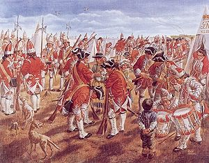Camp of the British 43rd Regiment during the siege of Fort Beausejour, June 1755.jpg