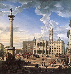 La Place et la basilique de Santa Maria Maggiore  Giovanni Paolo Panini (ou Pannini) (Plaisance, Émilie-Romagne, 1691 - Rome, 1765)