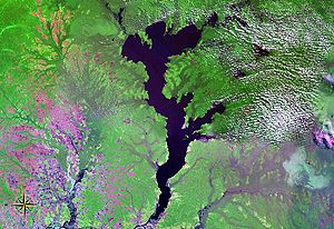 Photo satellite du lac Mai-Ndombe