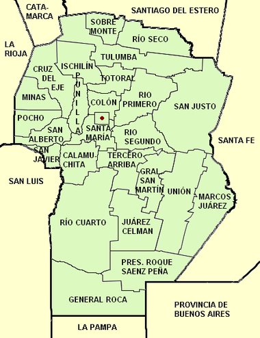 Córdoba province (Argentina), departaments and capital with names.png