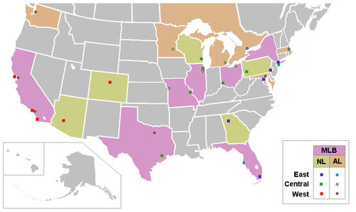 Major League Baseball team locations.PNG