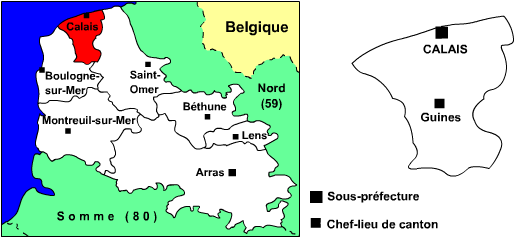 Carte de l'arrondissement de Calais