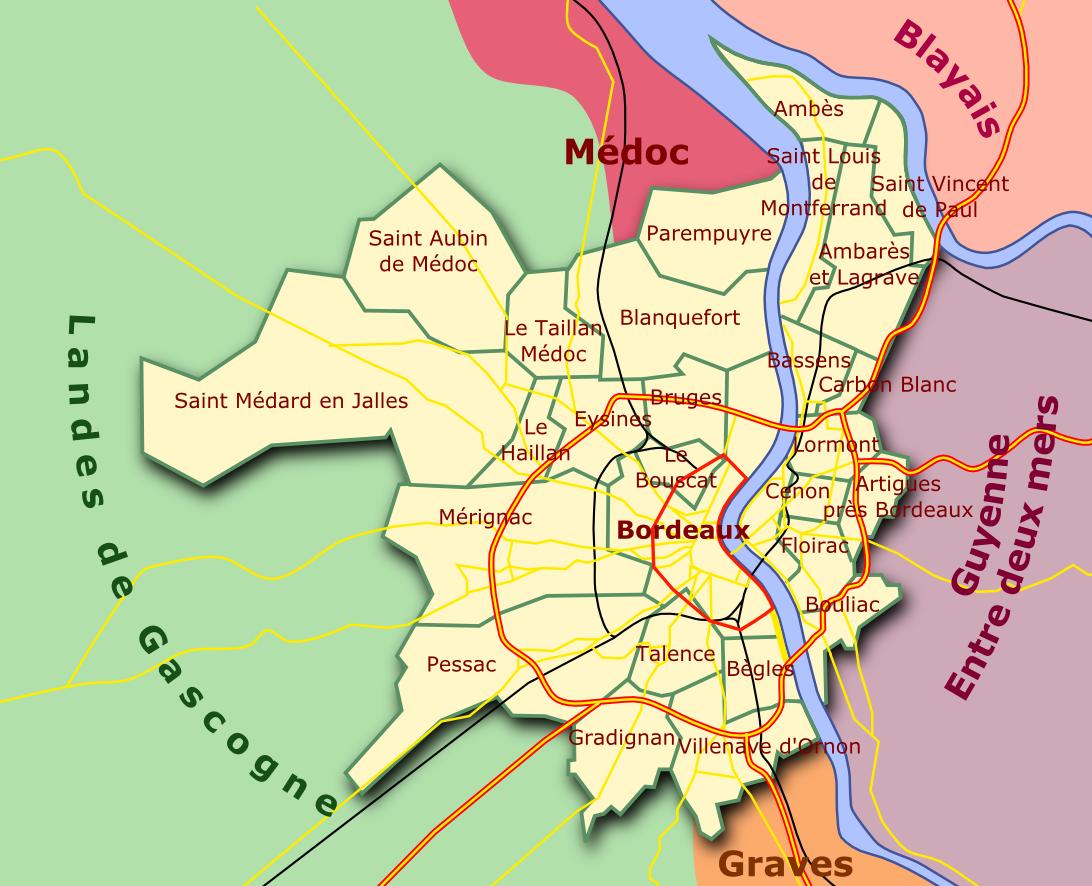 Carte Bordeuax Et Les Villes Aux Alentours