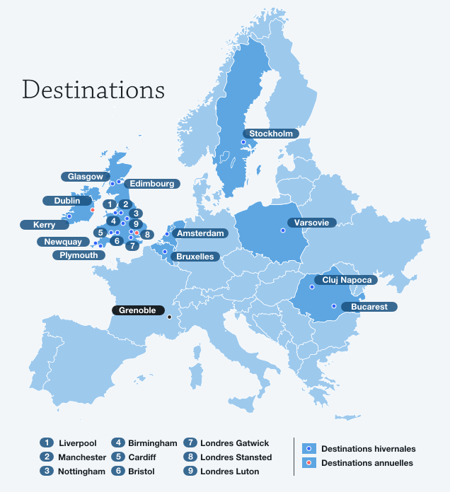 Destinations de l'Aéroport International de Grenoble-Isère