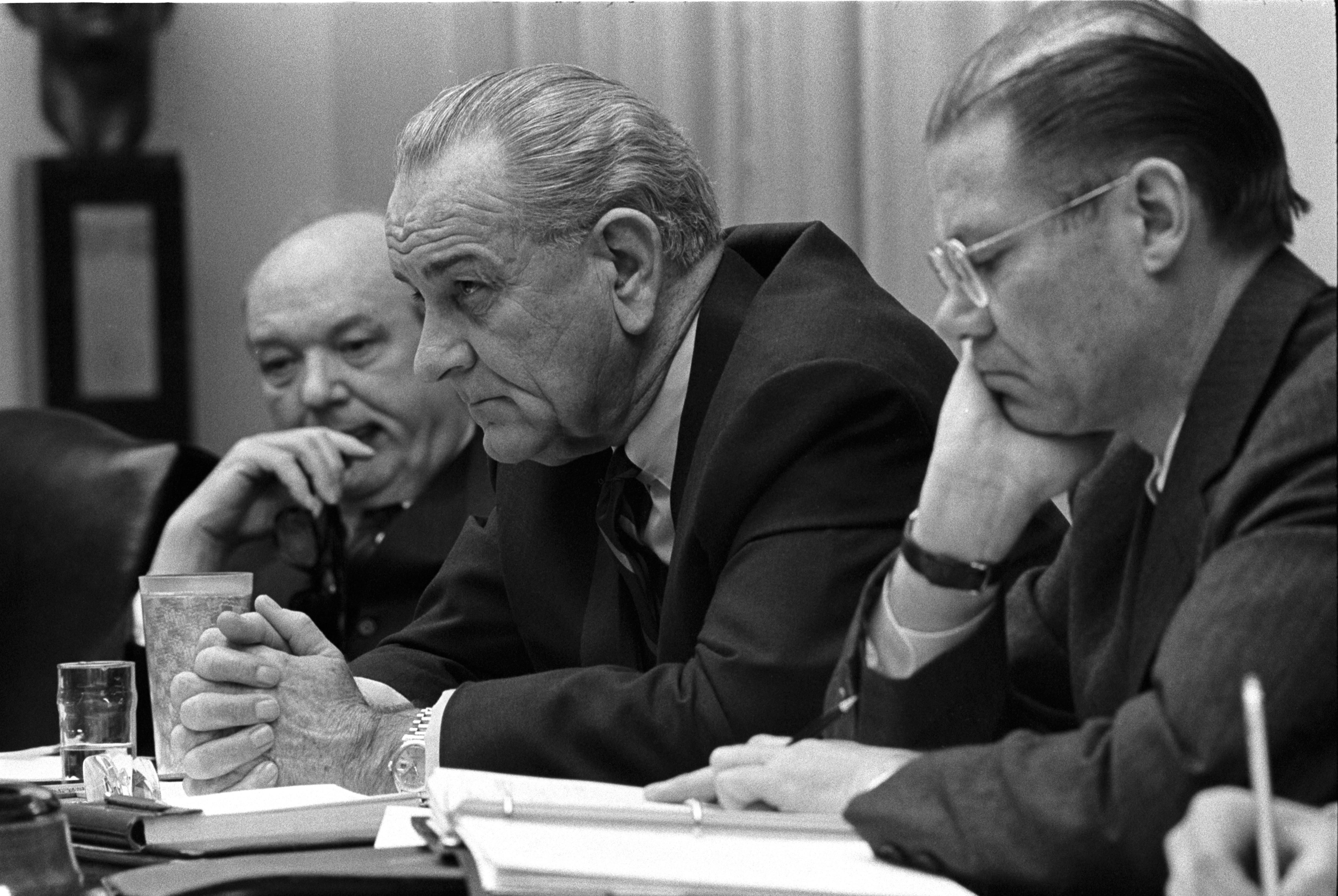 The United States of the Solar System, A.D. 2133 (Deep State Nine) Dean_Rusk%2C_Lyndon_B._Johnson_and_Robert_McNamara_in_Cabinet_Room_meeting_February_1968