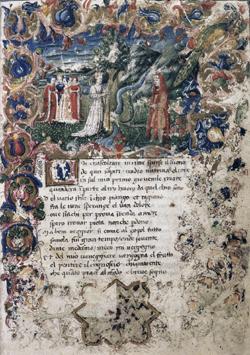 Explication de l'Enluminure Fran%C3%A7ois_P%C3%A9trarque_(1304-1374)_-_Rime._Trionfi,_Manuscrit_du_XVe_si%C3%A8cle_(Biblioth%C3%A8que_nationale,_Rome).