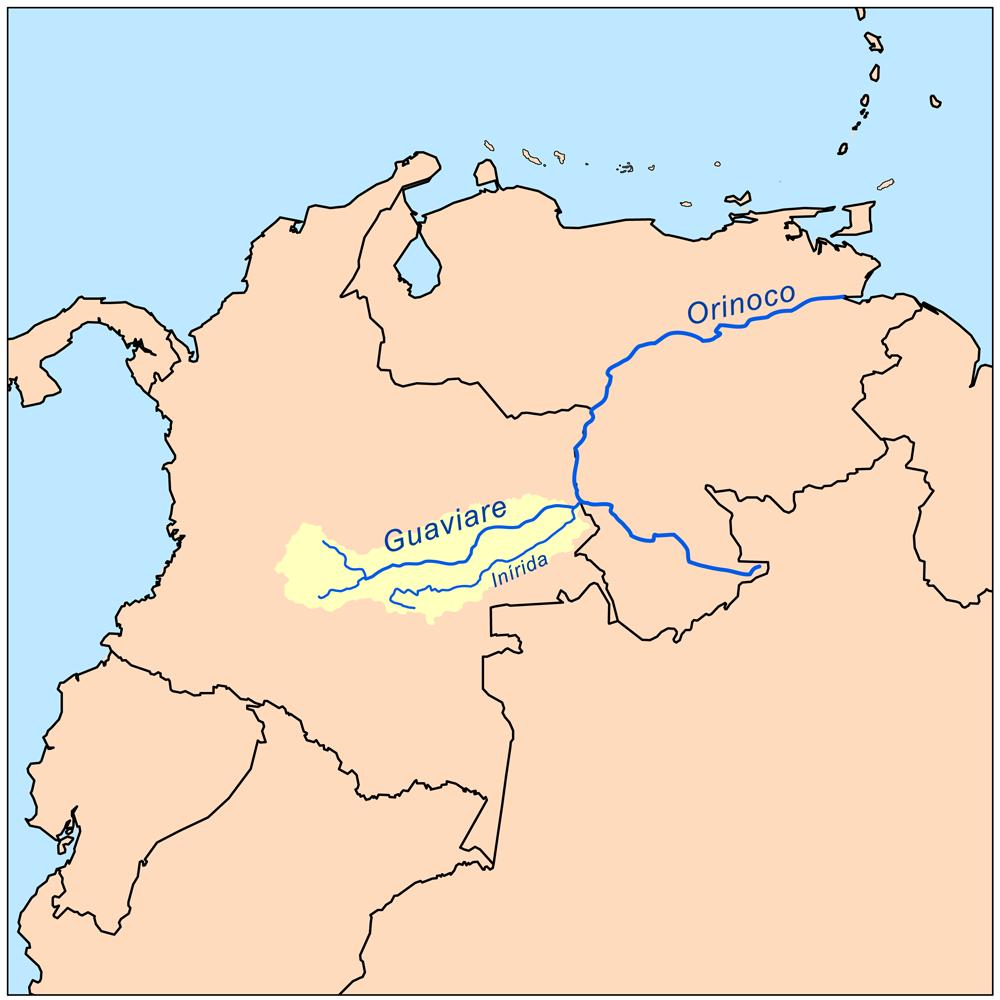 Le r  237 o Guaviare vu depuis l espace Orinoco River Map