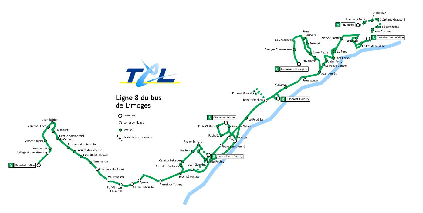 Ligne 8 du bus de limoges - Ligne bus limoges ...