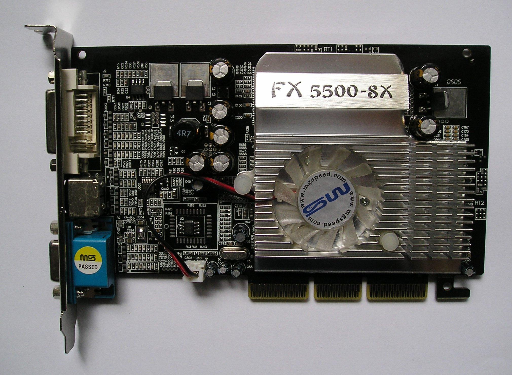 Nvidia geforce fx 5500 / 256mb ddr / agp 8x / dvi / vga / tv-out.